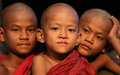 Buddhist novices myanmar portrait of three in a monastic school in mandalay burma Stock Photo