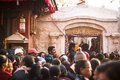 Buddhist pilgrims near stupa boudhanath during festive solemn puja khatmandu nepal dec unidentified of h h drubwang padma norbu Stock Image