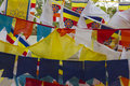 Buddhist Prayer flags at the Bodhi Tree Temple Royalty Free Stock Photo