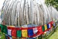Buddhist prayer flags shot by fisheye