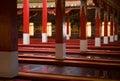 Buddhist prayer hall the inside the monastery at kushalnagar india Royalty Free Stock Photos