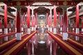 Buddhist prayer hall the inside the monastery at kushalnagar india Royalty Free Stock Images