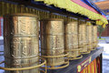 Buddhist prayer wheels in chongsheng temple Royalty Free Stock Photo