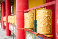 Buddhist prayer wheels close up Royalty Free Stock Photos