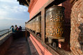 Buddhist prayer wheels in swayambhunath nepal monkey temple Stock Photo