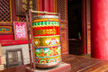 Buddhist prayer wheels in the temple Royalty Free Stock Photography