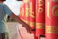 Buddhist prayer wheels Royalty Free Stock Photo
