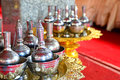 Buddhist s grail for buddhist prayer the pattern of the water libation Stock Images