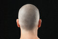 Buddhist shaved head from behind close up of a men with a newly shirtless and shot Royalty Free Stock Photography