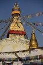 Buddhist shrine boudhanath stupa with pray flags over blue sky nepal kathmandu Royalty Free Stock Image