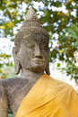 Buddhist statue stone with gold material decoration thailand Stock Photography