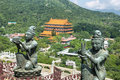 Buddhist statues in Latau island, Hong Kong. Royalty Free Stock Photo