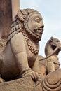 Buddhist stone statues in Bhaktapur, Nepal Royalty Free Stock Photo