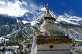 Buddhist stupa with the Annapurna III Royalty Free Stock Image