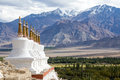 Buddhist stupa and Himalayas mountains. Shey Palace in Ladakh, India Royalty Free Stock Photo