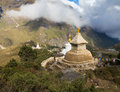 Buddhist stupa on mountain ridge. Royalty Free Stock Photo