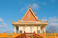 Buddhist temple exterior and spire colorful monastery outside hampton minnesota ornamented with gold leafing balustrade near Royalty Free Stock Images