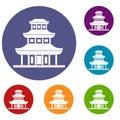 Buddhist temple icons set