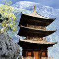 Buddhist temple in mountains the Royalty Free Stock Photography