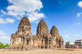 Buddhist temple phra prang sam yod pagoda in lopburi of thailand Royalty Free Stock Photos