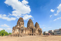 Buddhist temple phra prang sam yod pagoda in lopburi of thailand Stock Photos
