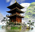 Buddhist Temple in rocky mountains Royalty Free Stock Photo