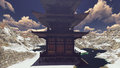 Buddhist Temple in rocky mountains 3d rendering Royalty Free Stock Photo