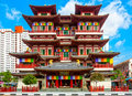 Buddhist temple in singapore the buddha tooth relic s chinatown at sunset Royalty Free Stock Photo