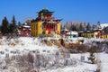 Buddhist temple in winter, Buryatia, Russia