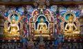 Buddhist trinity a monastery altar with deities of padmasambhava buddha and maitreya Stock Image