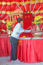 Buddhist worship and making religious merit Royalty Free Stock Image