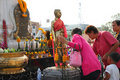 Buddhist worshiping and making religious merit Royalty Free Stock Photo