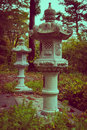 Buddhistic lanterns in zao japan the mountain resort cross processed Stock Image
