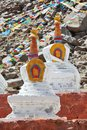 Buddhistic stupas in Tibet Royalty Free Stock Photos