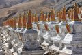 Buddhistic stupas in Tibet Stock Photo