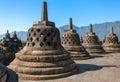 Buddist temple borobudur complex in yogjakarta java indonesia Royalty Free Stock Photo