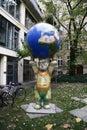 Buddy bear circa february berlin a with a globe berlin mitte Stock Image