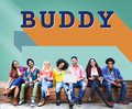 Buddy friends together connection companionship concept Royalty Free Stock Image