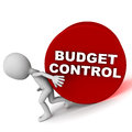 Budget control small man trying hard to do concept of keeping costs at bay and avoiding the expense ceiling Royalty Free Stock Image