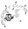 Budget cuts dollar monochrome twig text isolated on white background Royalty Free Stock Images