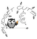 Budget cuts euro monochrome twig text isolated on white background Stock Images