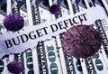 Budget Deficit news and Coronavirus on money Royalty Free Stock Photo