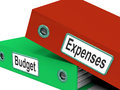 Budget expenses folders mean business finances and budgeting meaning Royalty Free Stock Photo