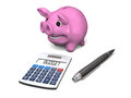 Budget happy pink piggy bank with pen and calculator concept of budgeting savings and investments on white background Stock Images