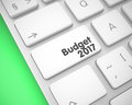 Budget 2017 - Inscription on White Keyboard Key. 3D.