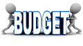 Budget shrink shrinking or control of little men bringing down expenses by squeezing the words against white background Stock Images