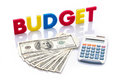 Budget words, American banknotes and calculator Royalty Free Stock Photography