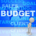 Budget words means bills costing and money d rendering indicating purchase outlay buy Stock Images