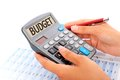 Budgeting concept hands pen and calculator Stock Image