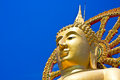 Budha against blue sky thailand wat phra yai the big buddha temple at koh samui Stock Image